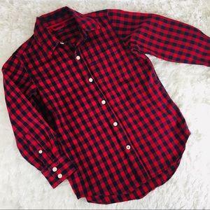 Gap Kids Buffalo Plaid Shirt Small 6-7 Red Black
